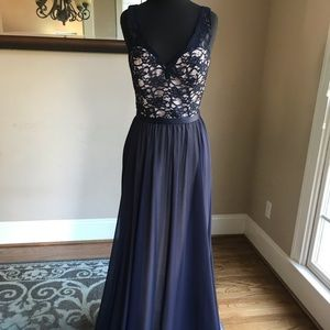 Mori Lee Style 714 Size 16 Color Navy/Nude